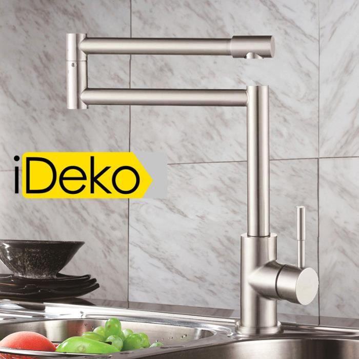 ideko robinet mitigeur d vier cuisine inox rotation double 360 degr s flexible achat. Black Bedroom Furniture Sets. Home Design Ideas
