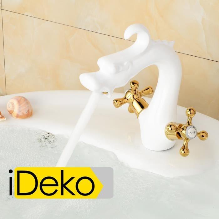 ideko robinet mitigeur lavabo salle de bain en laiton c ramique dragon pendre blanc et dor. Black Bedroom Furniture Sets. Home Design Ideas