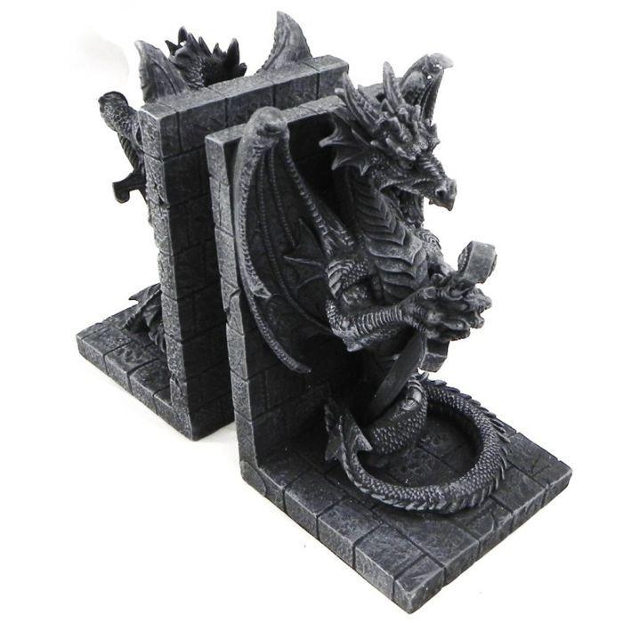 paire de serre livres dragons mystiques gris achat. Black Bedroom Furniture Sets. Home Design Ideas
