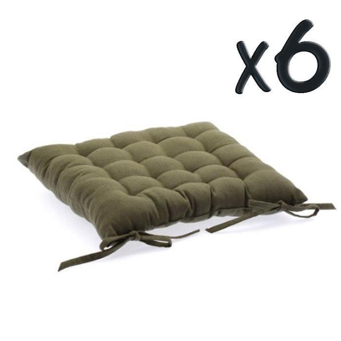 Lot de 6 coussins de chaise en coton taupe 38 achat - Chaise lot de 6 ...
