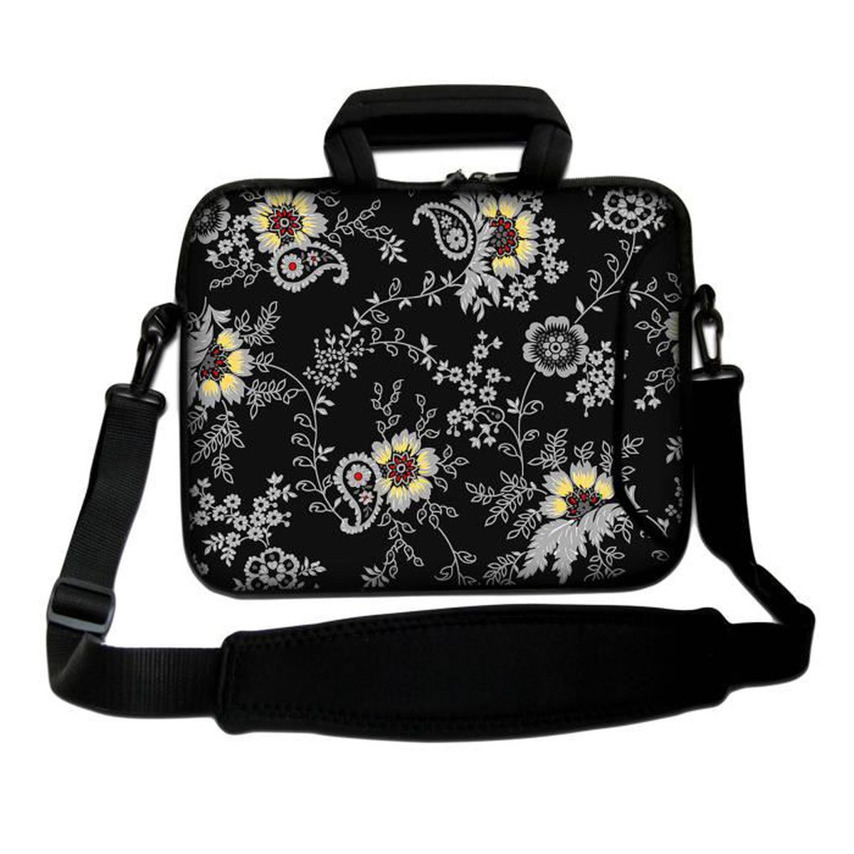 luxburg 17 pouces sac bandouli re pour ordinateurs portables souple avec poign e motif floral. Black Bedroom Furniture Sets. Home Design Ideas