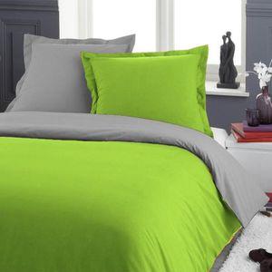 parure de lit une personne 140 x 200 gris vert achat vente pack linge de lit cdiscount. Black Bedroom Furniture Sets. Home Design Ideas