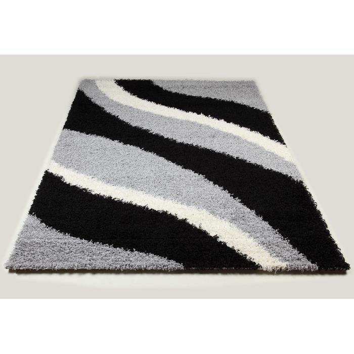 Tapis shaggy noir et gris de salon vasco 8 l 200 x p 290 - Tapis shaggy gris 200x290 ...