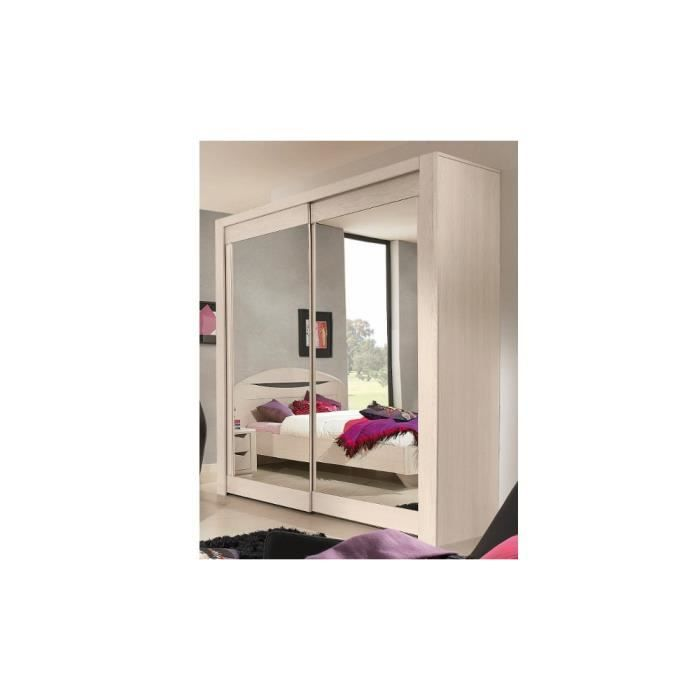 Armoire coulissante belleme bois massif p miroirs achat for Miroir chene blanchi