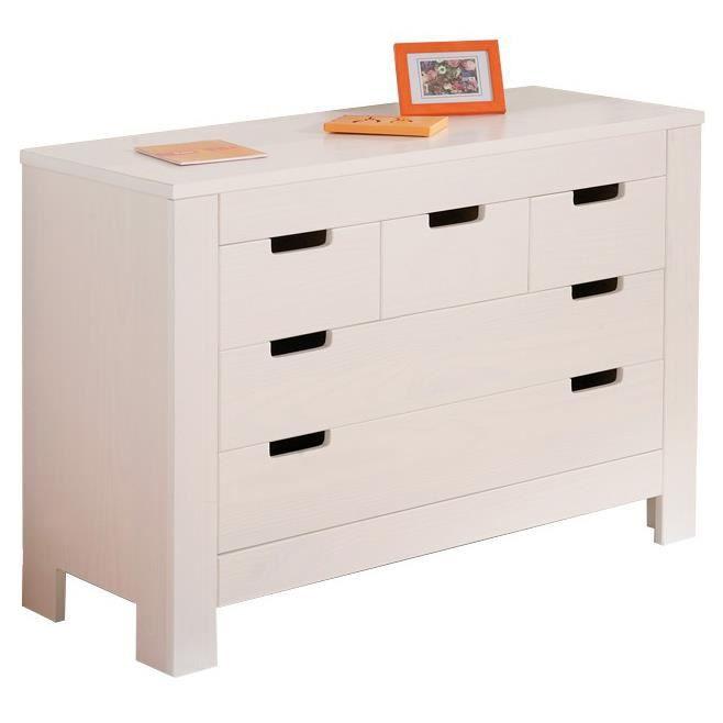 Meuble de rangement 5 tiroirs blanc en pin massif blanc - Meuble rangement cdiscount ...
