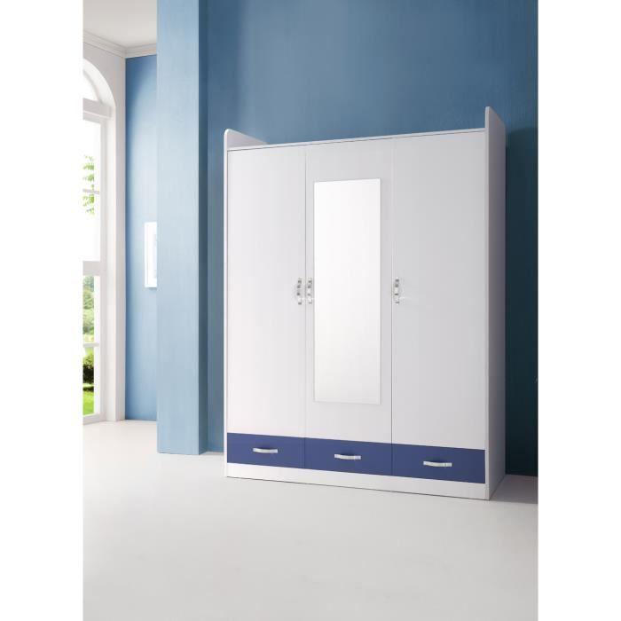 grande armoire chambre enfant 3 portes blanc et achat. Black Bedroom Furniture Sets. Home Design Ideas