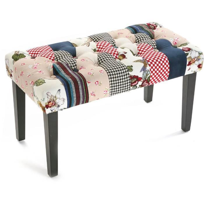 bout de lit romantic patchwork achat vente banquette cdiscount. Black Bedroom Furniture Sets. Home Design Ideas