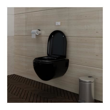 Wc suspendu noir avec abattant et bati support achat vente wc toilette - Toilette noir suspendu ...