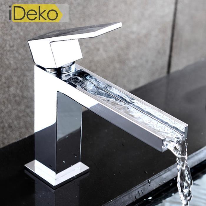 Ideko robinet mitigeur de lavabo cascade salle de bains for Robinetterie laiton salle de bain