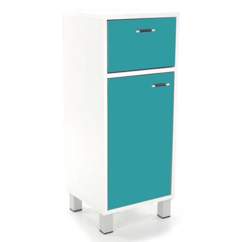 Meuble bas de salle de bain turquoise achat vente for Meuble bas pour salle de bain