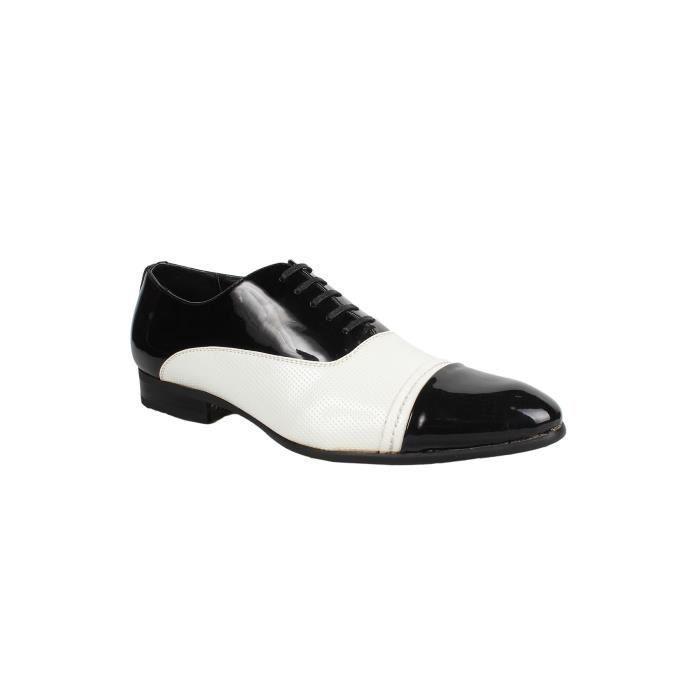 chaussures homme galax vernis doublure en cuir blanc noir blanc achat vente derby cdiscount. Black Bedroom Furniture Sets. Home Design Ideas