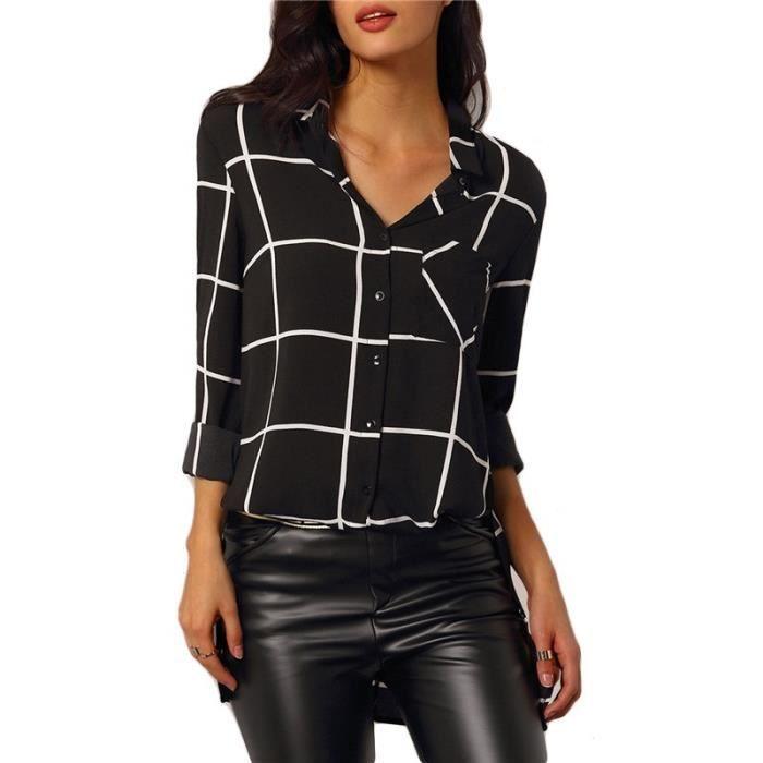 2016 mode d 39 et automne chic femme chemise carreaux noir. Black Bedroom Furniture Sets. Home Design Ideas