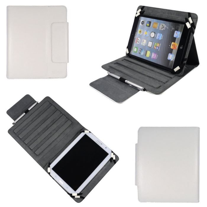 informatique accessoires tablettes tactiles housse universelle tablette  pouces blanc cuir pu f xep