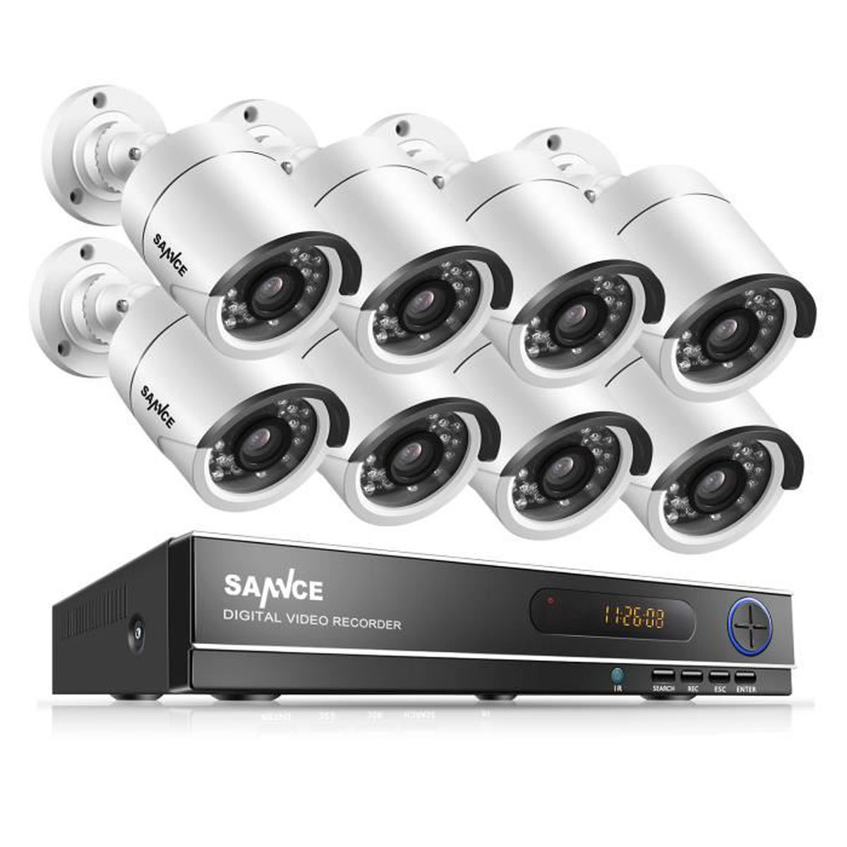 Sannce kit cam ra de suveillance ext rieur 8ch 720p dvr for Disque dur exterieur