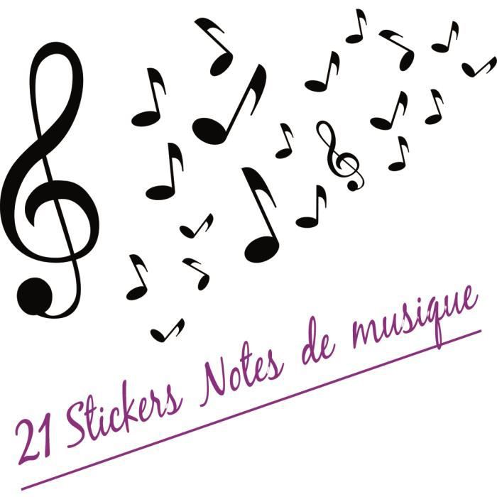 stickers autocollant d co 21 notes de musique en noir achat vente stickers cdiscount. Black Bedroom Furniture Sets. Home Design Ideas