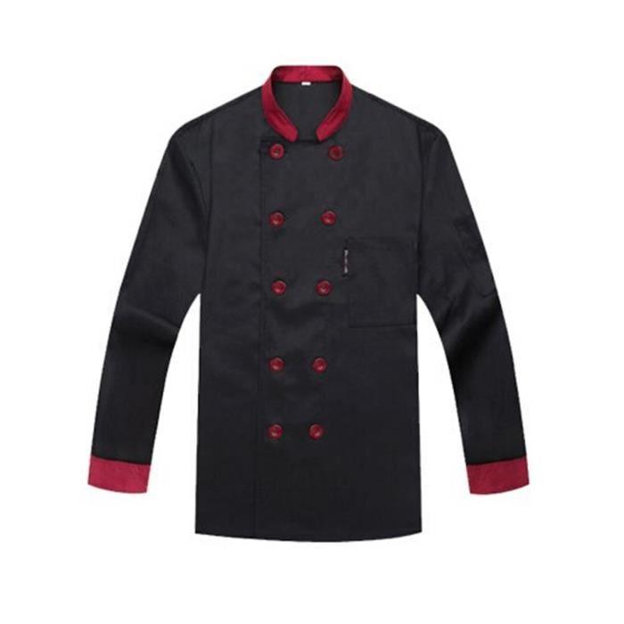 veste de cuisine femme et homme aux manches longues professionnelle xxxl noir lavable cadeau. Black Bedroom Furniture Sets. Home Design Ideas