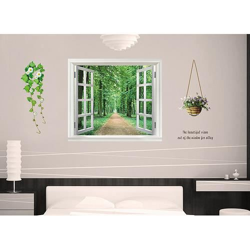 Sticker mural fen tre vue sur for t 90 x 60 cm achat vente stickers cdiscount for Fenetre 60 x 90