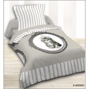 housse de couette et taie d 39 oreiller mistigri achat vente parure de c. Black Bedroom Furniture Sets. Home Design Ideas