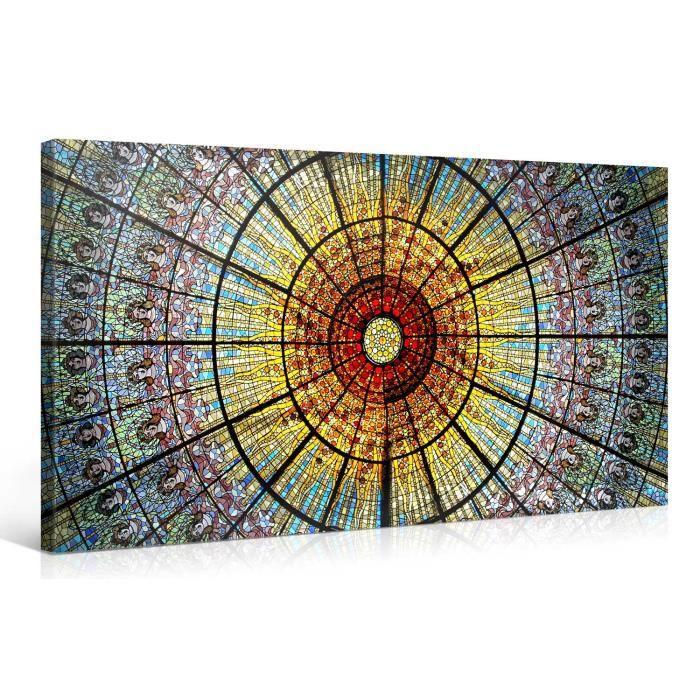 Tableau sur toile eglise color 100x50cm achat vente for Tableau impression sur toile
