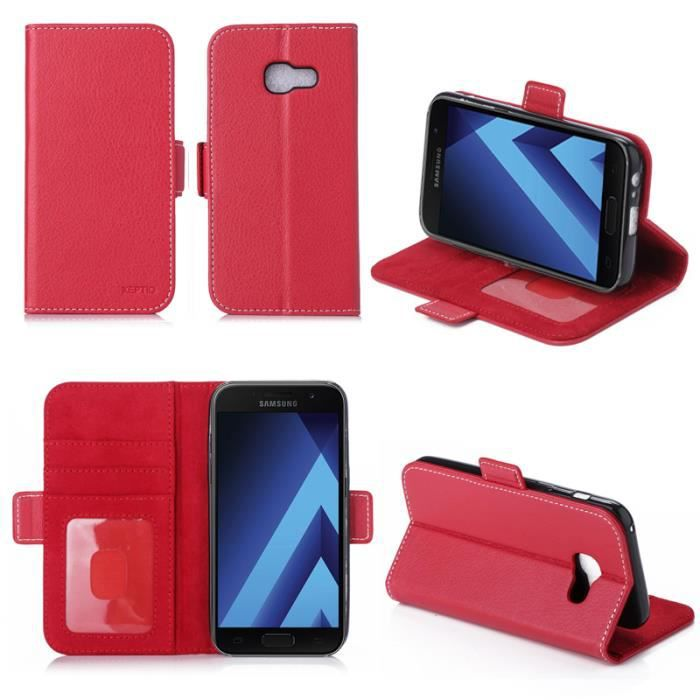 etui coque portefeuille samsung galaxy a3 2017 4g rouge. Black Bedroom Furniture Sets. Home Design Ideas