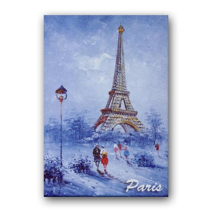 magnet paris peinture de la tour eiffel sous la neige souvenirs de paris achat vente. Black Bedroom Furniture Sets. Home Design Ideas