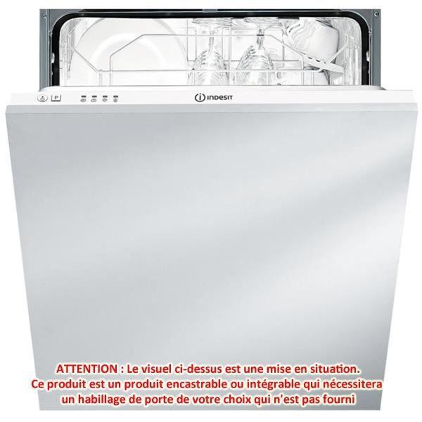 Lave vaisselle tout integrable dif14a indesit achat for Installer lave vaisselle integrable