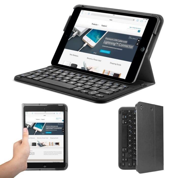 bluetooth folio case clavier pour ipad mini 3 mini 2 mini avec 4 mois de vie des batteries. Black Bedroom Furniture Sets. Home Design Ideas