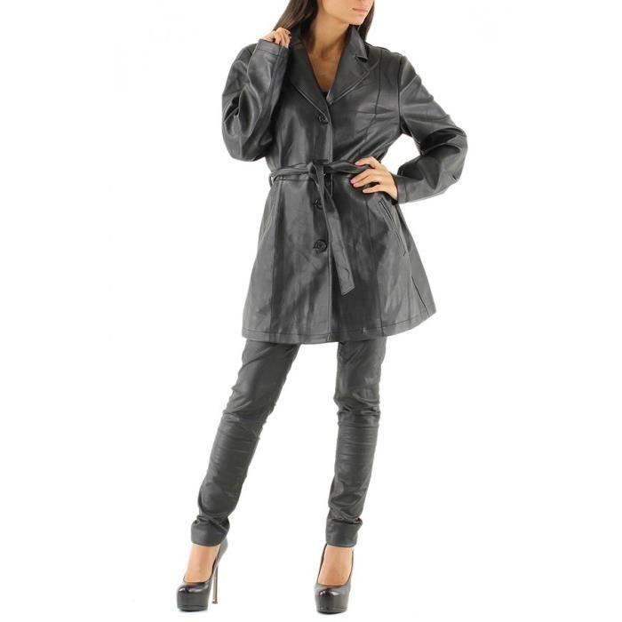 trench simili cuir noir femme noir achat vente imperm able trench soldes d hiver d s le. Black Bedroom Furniture Sets. Home Design Ideas
