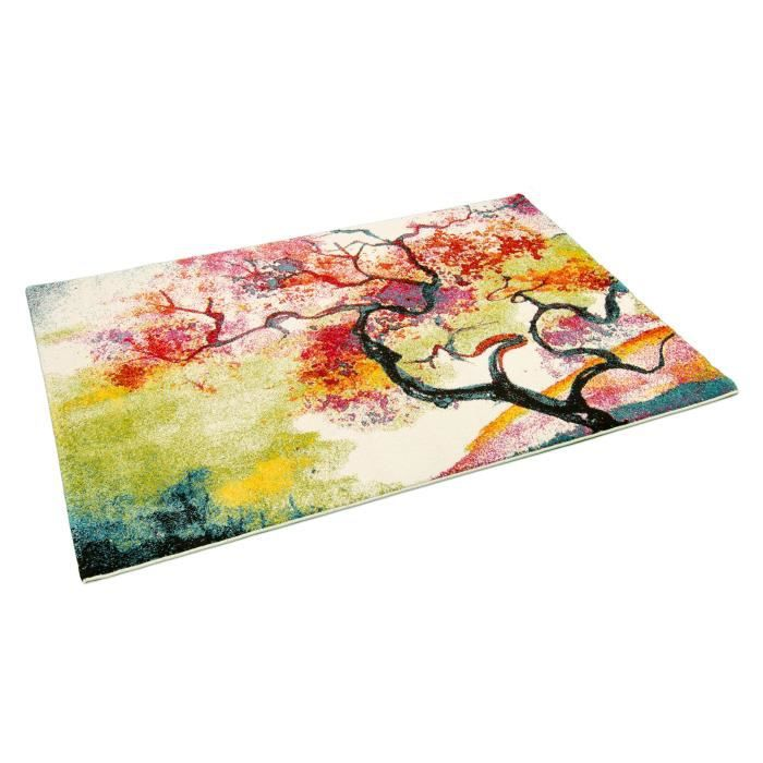 Tapis Salon Bonita Arbre Peinture Huile Multicolore Universol Achat Vente Tapis Cdiscount