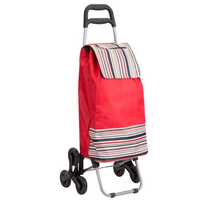 chariot de course rouge avec rayures tri roues achat. Black Bedroom Furniture Sets. Home Design Ideas
