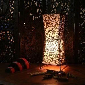 Sun d'koh - Lampe carré sablier - roseaux et ra…