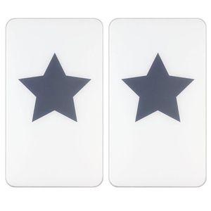 CACHE PLAQUE DE CUISINE Set de 2 Protège-Plaques Universelles Etoile Gris