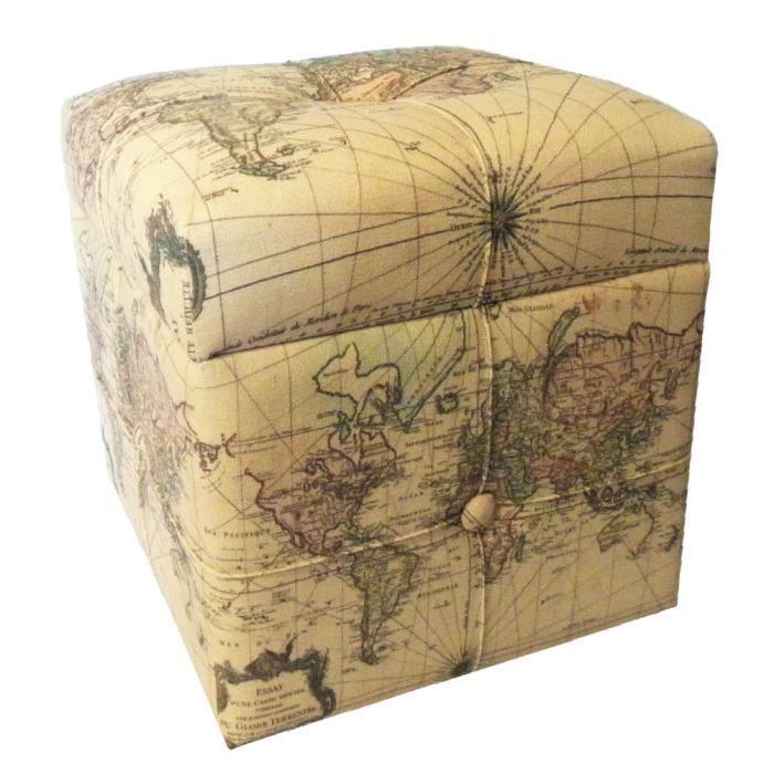 coffre pouf vintage mappemonde achat vente pouf. Black Bedroom Furniture Sets. Home Design Ideas