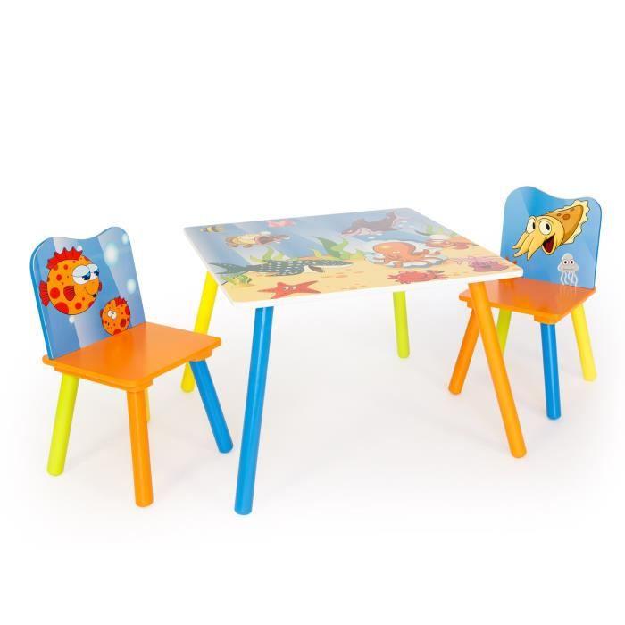 Table avec 2 chaises pour enfant motif mer achat vente for Table et 2 chaises