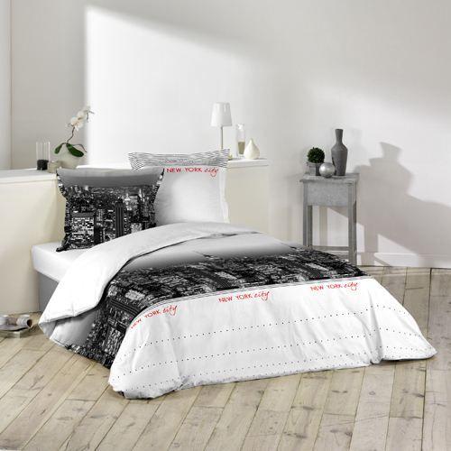 housse de couette et deux taies ny blanc achat vente parure de lit cdiscount. Black Bedroom Furniture Sets. Home Design Ideas