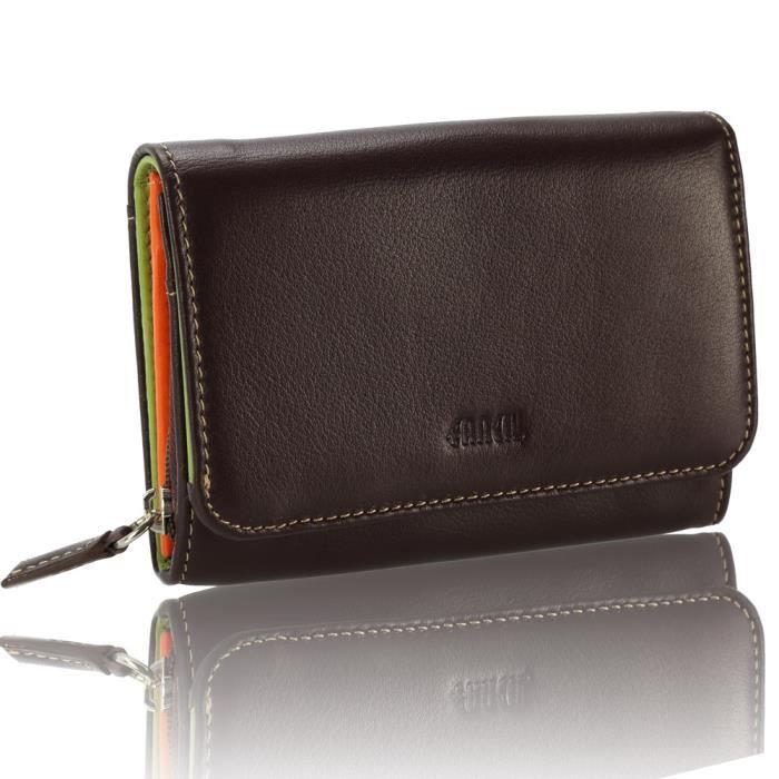 Multi porte monnaie en cuir marron 1862 int rieur multicolore marron achat vente porte for Achat porte interieur bordeaux
