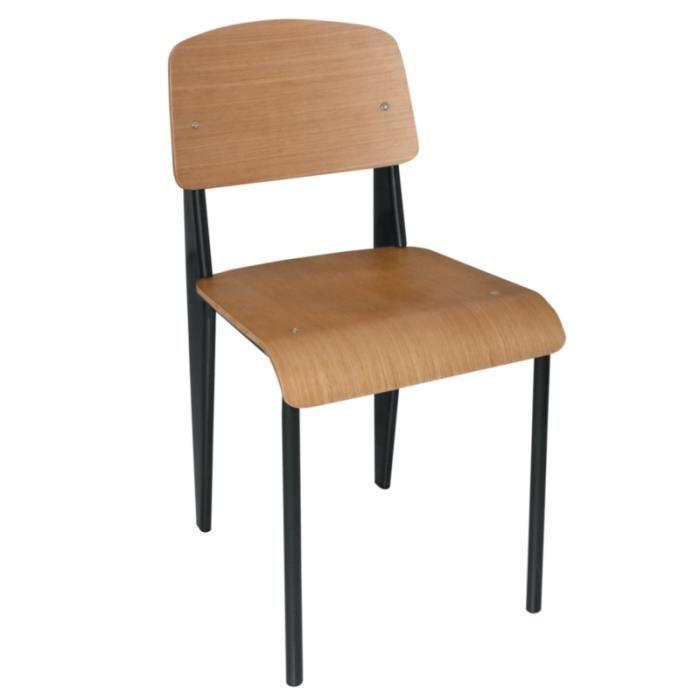 Lot de 4 chaises simples en bois avec pieds noirs achat vente chaise noir - Chaise avec pied en bois ...