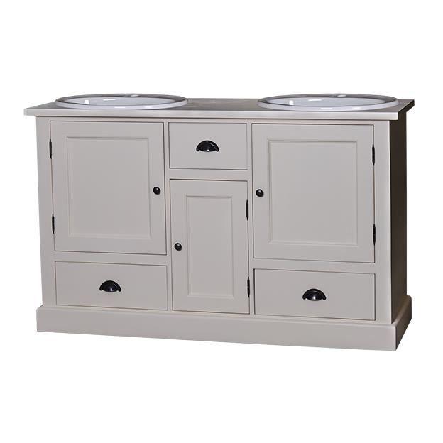 Meuble de salle de bain 2 vasques plateau zinc achat vente meuble vasque plan meuble de - Plateau salle de bain ...