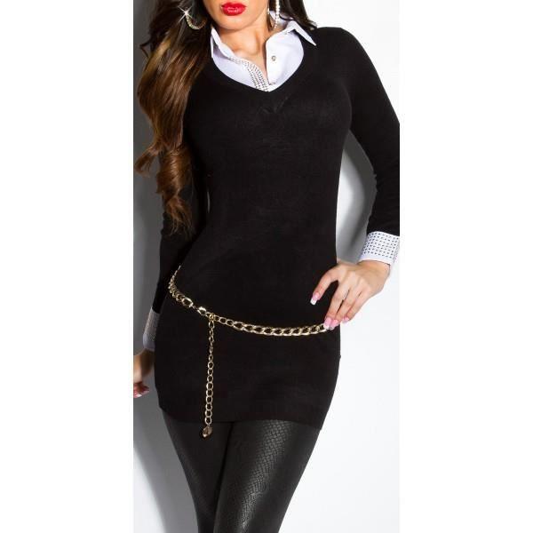 pull chemise noir femme noir noir achat vente pull cdiscount. Black Bedroom Furniture Sets. Home Design Ideas