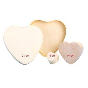 Support à décorer Boîte Coeur - 14 x 12 x 4,3 cm - Bois - Copeau …