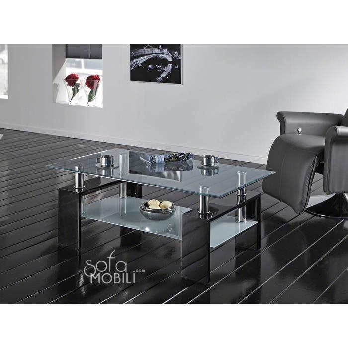 Table basse en verre rectangulaire noir laqu ou blanc laqu design wilma 2 noir achat vente - Table en verre rectangulaire ...