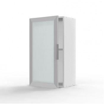 Meuble haut epure 1 porte vitr e avec cadre alu achat for Meuble avec porte vitree