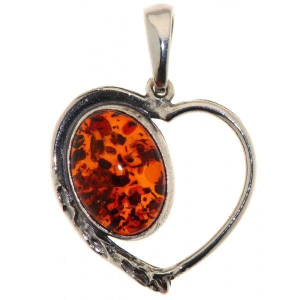 Pendentif coeur argent ambre pour femme achat vente for Peinture couleur argent pour bijoux