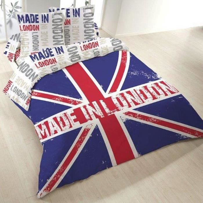 Housse de couette 200x200 made in london 2 taies achat vente housse de couette cdiscount - Housse de couette 200x200 london ...
