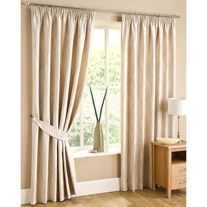 rideaux motif ondul ivoire galon fronceur jacquard. Black Bedroom Furniture Sets. Home Design Ideas