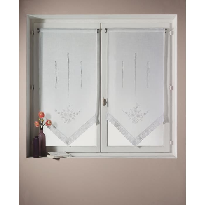 paire de voilage bouchara en tamine unie brod achat vente rideau soldes d hiver d s. Black Bedroom Furniture Sets. Home Design Ideas