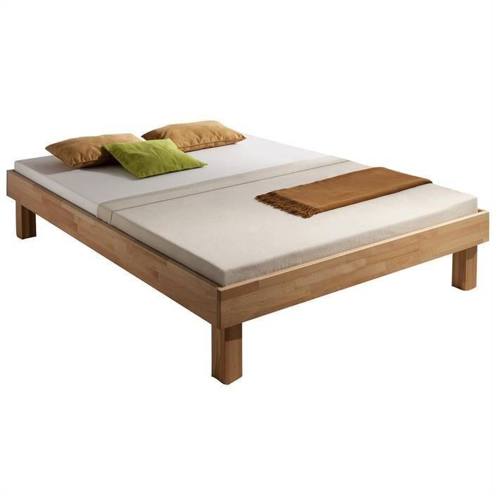 lit futon miriam 120x200 cm h tre vernis nat mat achat vente structure de lit soldes d. Black Bedroom Furniture Sets. Home Design Ideas