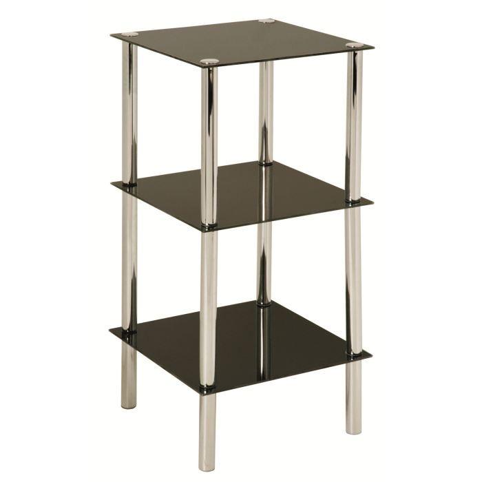 etag re 3 rayons belly chrome et verre tremp noir achat vente meuble tag re etag re 3. Black Bedroom Furniture Sets. Home Design Ideas