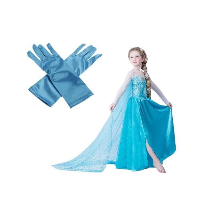 superbe robe et gants reine des neiges 8 a 12 ans achat vente d guisement panoplie cdiscount. Black Bedroom Furniture Sets. Home Design Ideas