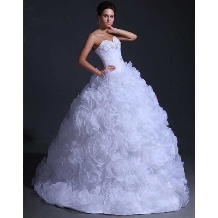 Robe de mariage-mariée-bal longue bustier princesse tutu poupée ...